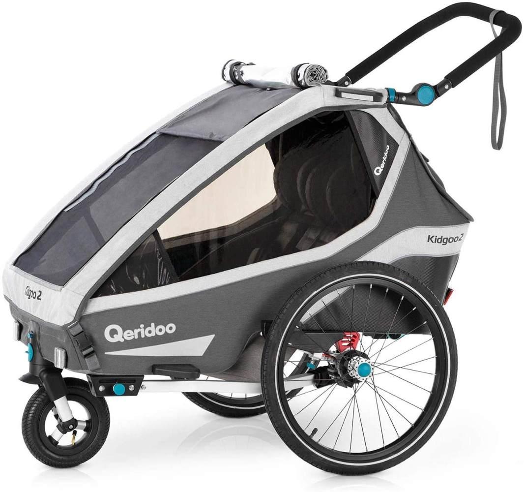 Qeridoo 'Kidgoo2' Fahrradanhänger 2020, grau, 2-Sitzer inkl. Kupplung und Buggyrad Bild 1