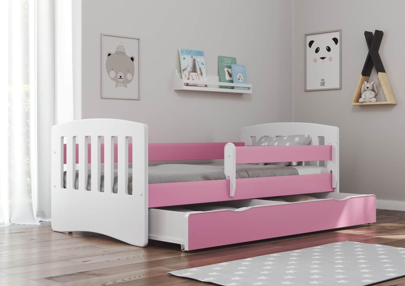 Bjird 'Classic' Kinderbett 80 x 140 cm, Rosa, inkl. Rausfallschutz, Lattenrost und Bettschublade Bild 1