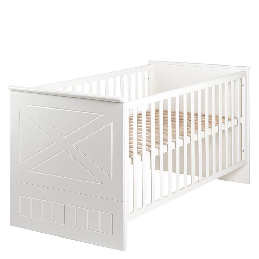 Roba 'Constantin' Kombi-Kinderbett 70 x 140 cm, weiß, höhenverstellbar, 3 Schlupfsprossen, umbaubar Bild 1