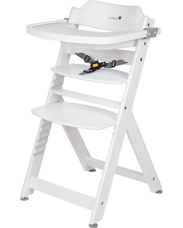 Safety 1st 'Timba' Treppenhochstuhl, weiß, 4-fach höhenverstellbar, mit Sicherheitsbügel, Gurt und Essbrett, Buche massiv Bild 1