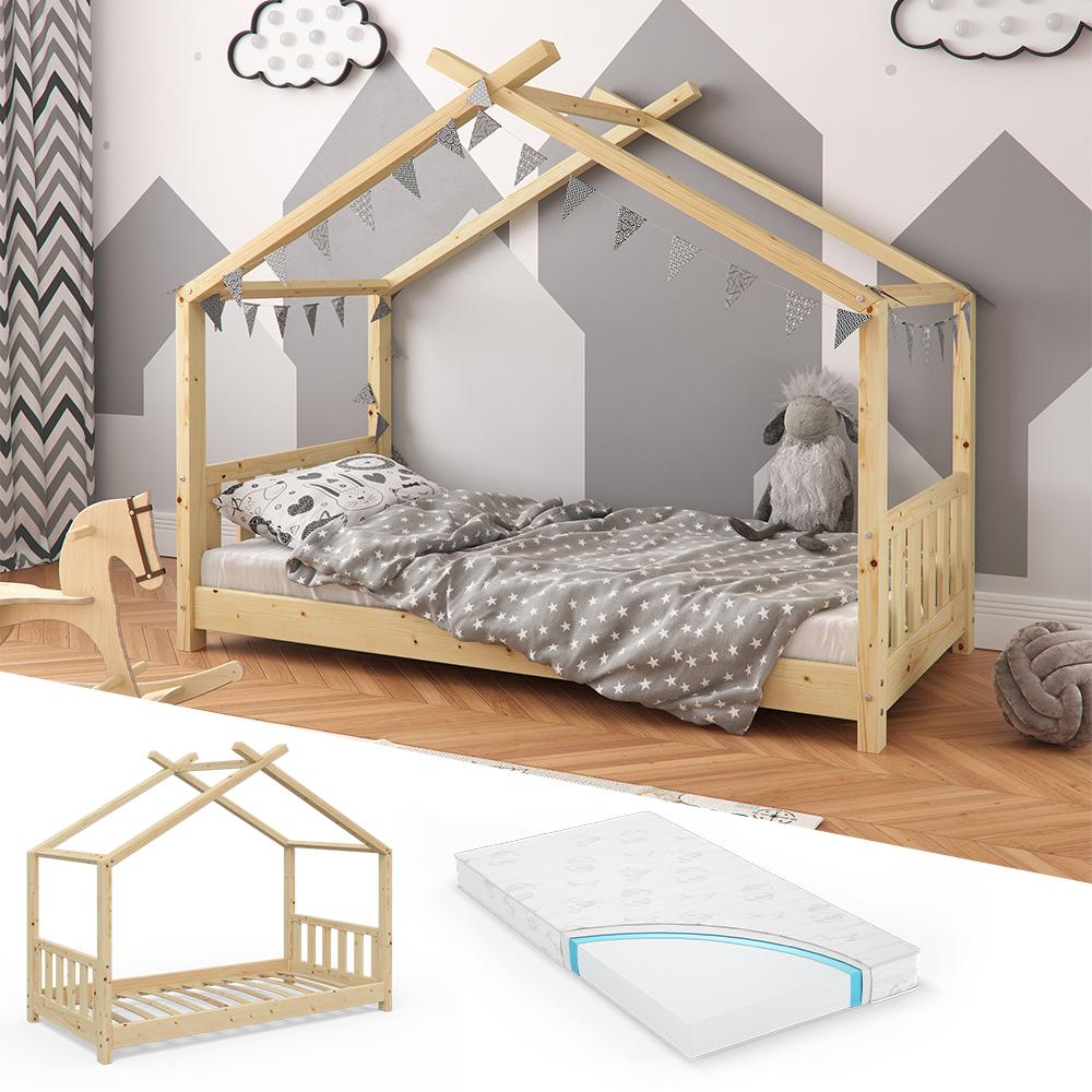 VitaliSpa 'Design' Hausbett Natur, 80x160 cm mit Matratze Bild 1