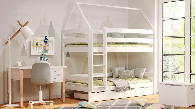Kinderbettenwelt 'Home' Etagenbett 90x200 cm, vanille, Kiefer massiv, mit Lattenrosten und zwei Schubladen Bild 1