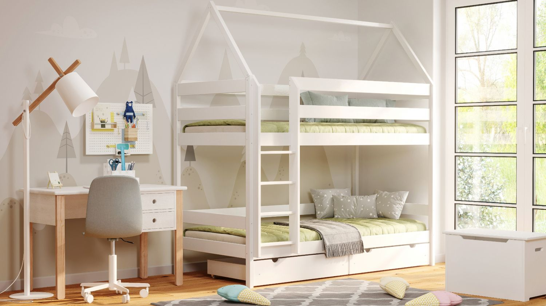 Kinderbettenwelt 'Home' Etagenbett 90x200 cm, vanille, Kiefer massiv, mit Lattenrosten Bild 1