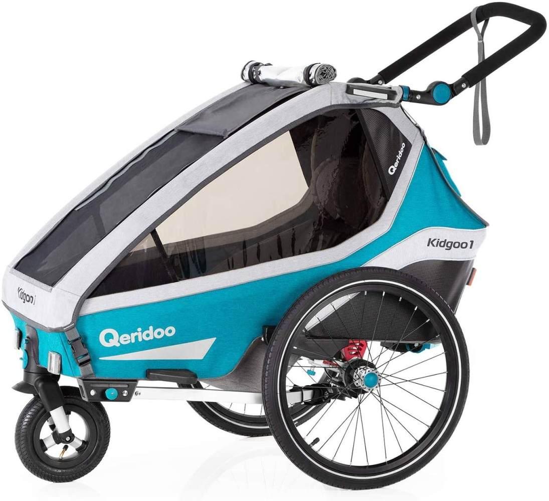 Qeridoo 'Kidgoo 1' Kinderfahrradanhänger 2020 Petrol, 1-Sitzer Bild 1