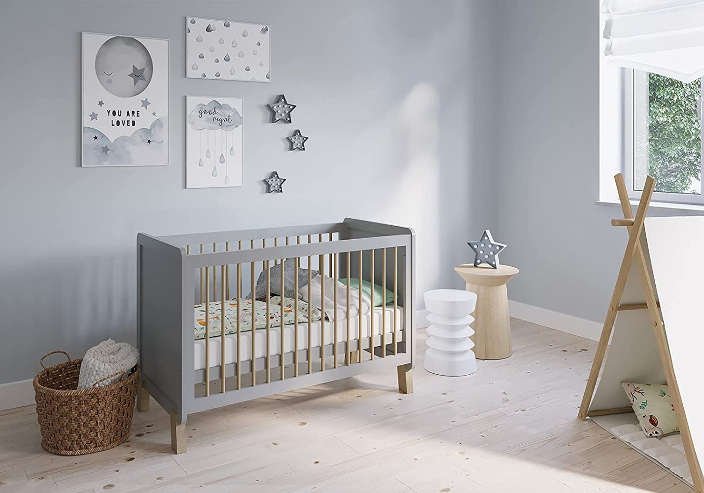FabiMax 'Nachteule' Kinderbett, 60 x 120 cm, grau/natur, Kiefer massiv, 3-fach höhenverstellbar, umbaubar, mit Matratze Classic Bild 1