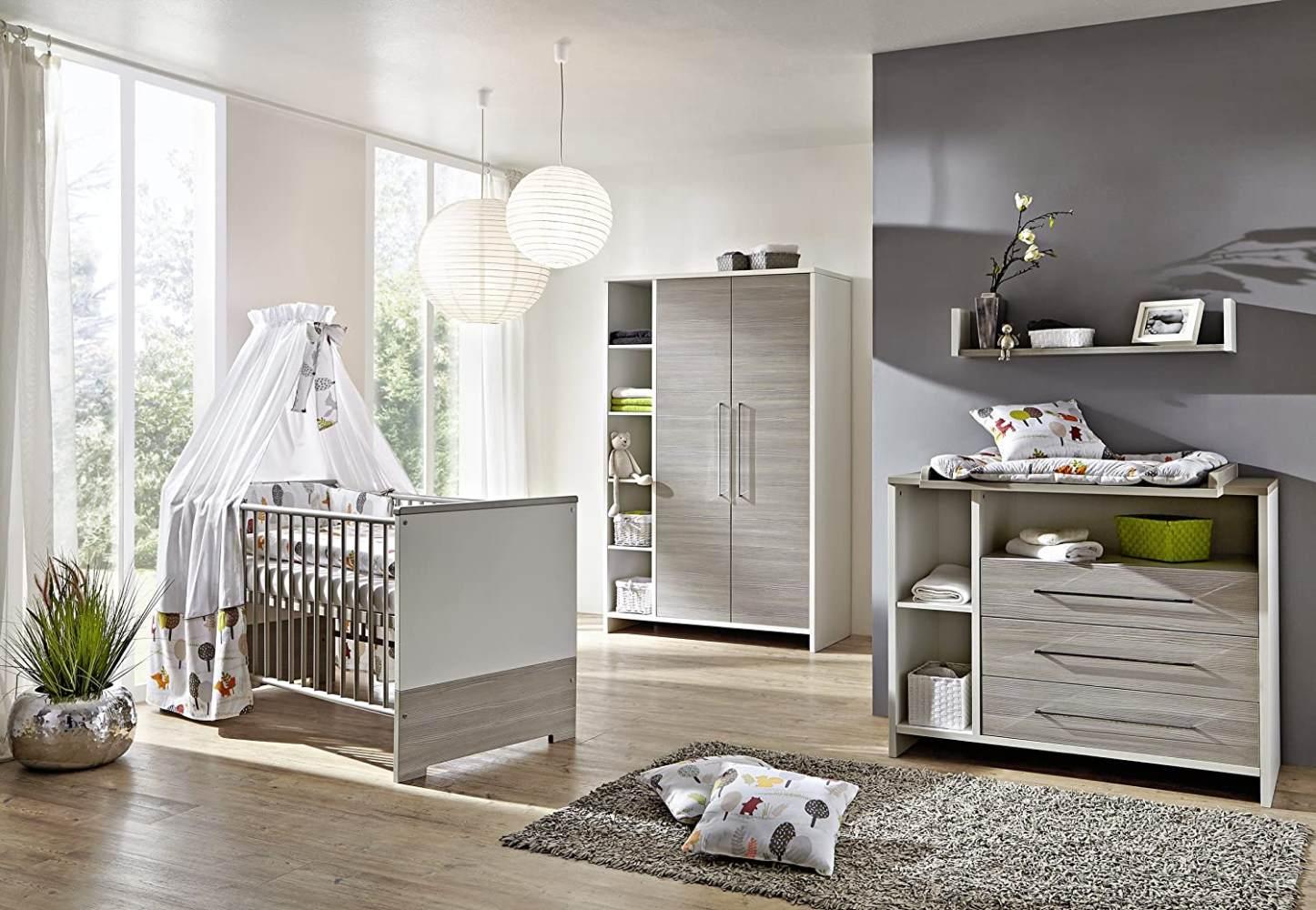 Schardt 'Eco Silber' 3-tlg. Babyzimmer-Set Kinderbett, Schrank 2-türig und Kommode Bild 1