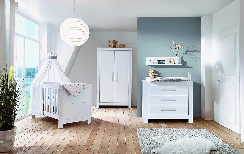 Schardt 'Nordic White' 3-tlg. Babyzimmer-Set weiß, inkl. Kinderbett, Schrank 2-türig und Wickelkommode Bild 1