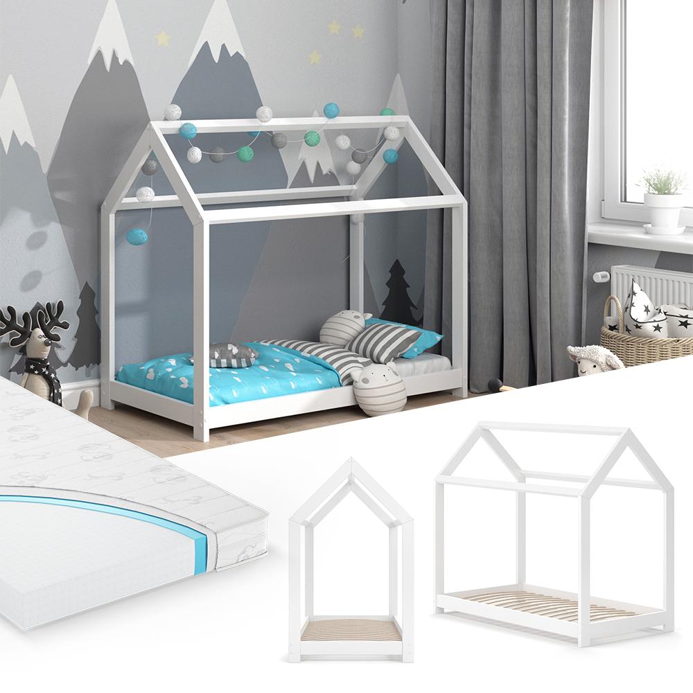 VitaliSpa 'Wiki' Hausbett 70x140 cm weiß, inkl. Matratze und Lattenrost Bild 1