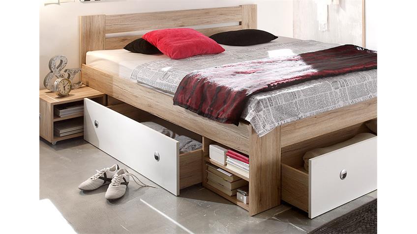 Bega 'STEFAN' Jugendbett san remo/weiß, 140x200 cm, inkl. Schubkasten und Nachtkommoden Bild 1