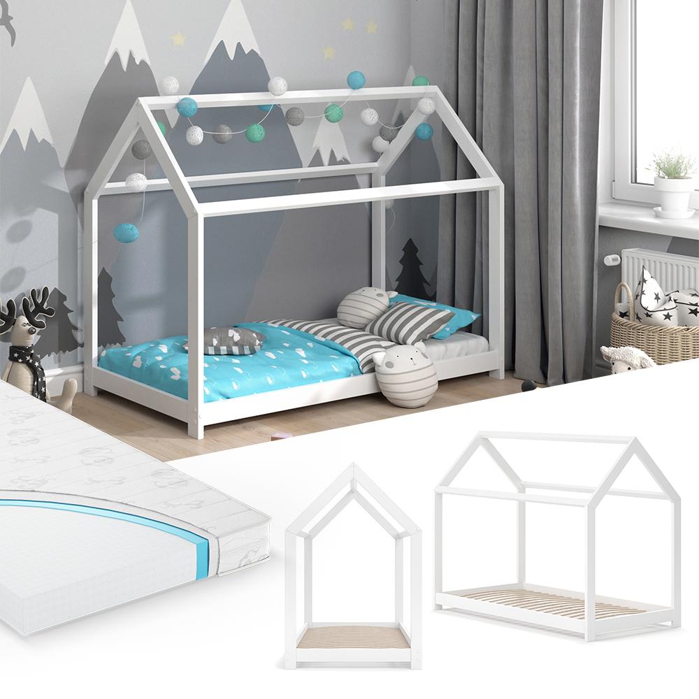 VitaliSpa 'Wiki' Hausbett 80 x 160 cm weiß, inkl. Matratze und Lattenrost Bild 1