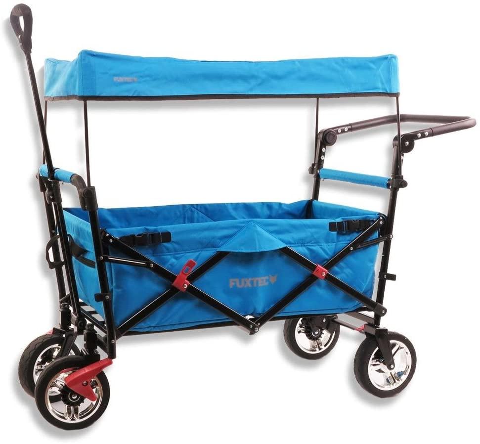 FUXTEC 'FX-CT700' Bollerwagen in Blau, inkl. Feststellbremse, Sonnendach, Zugstange, höhenverstellbarer Griff und gepolsterte Bodeneinlage Bild 1