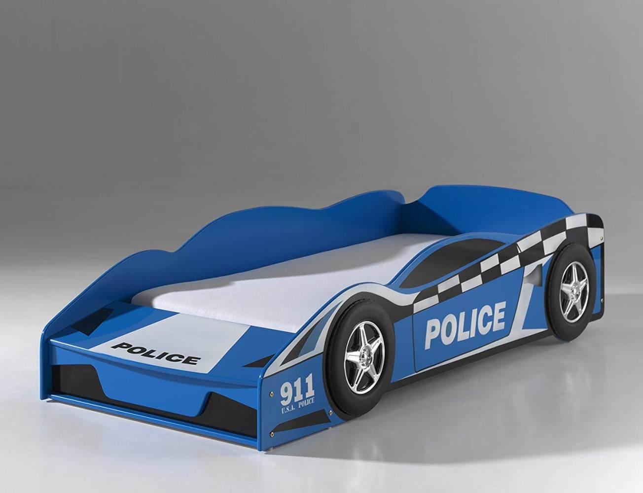 Vipack 'Police Car' Autobett 70 x 140 cm blau lackiert Bild 1