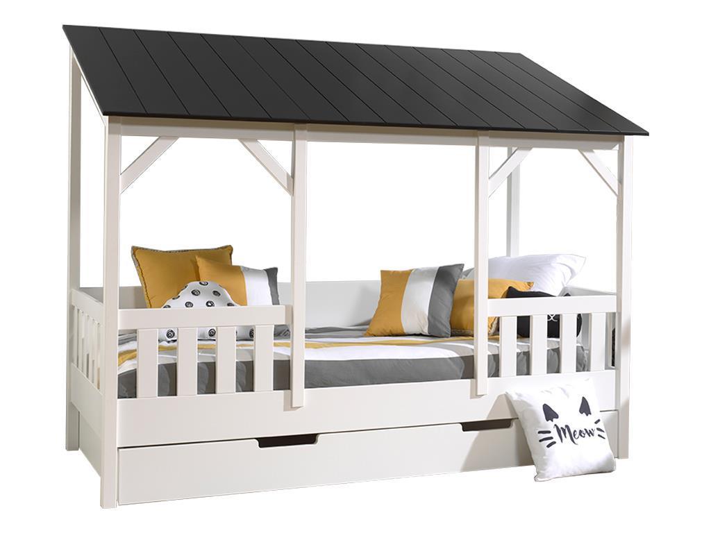 Vipack Hausbett mit 90 x 200 cm Liegefläche und Bettschublade, Korpus Weiß lackiert, Dach in Schwarz Bild 1