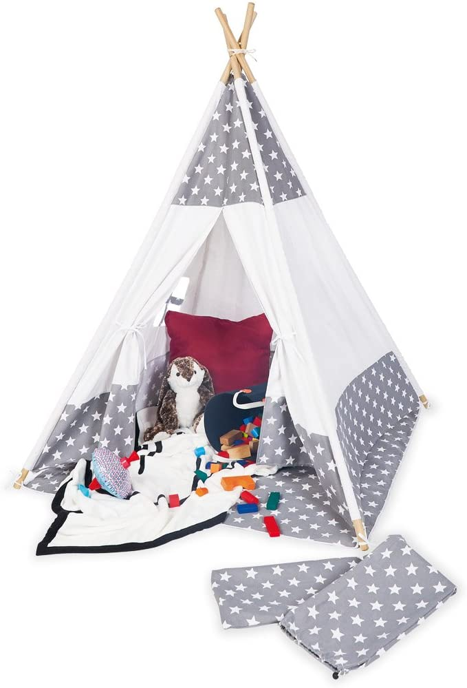Pinolino 'Jakara' Tipi, Sternchen Muster, mit Fenster, Bodenmatte und Aufbewahrungsbeutel, grau/weiß Bild 1