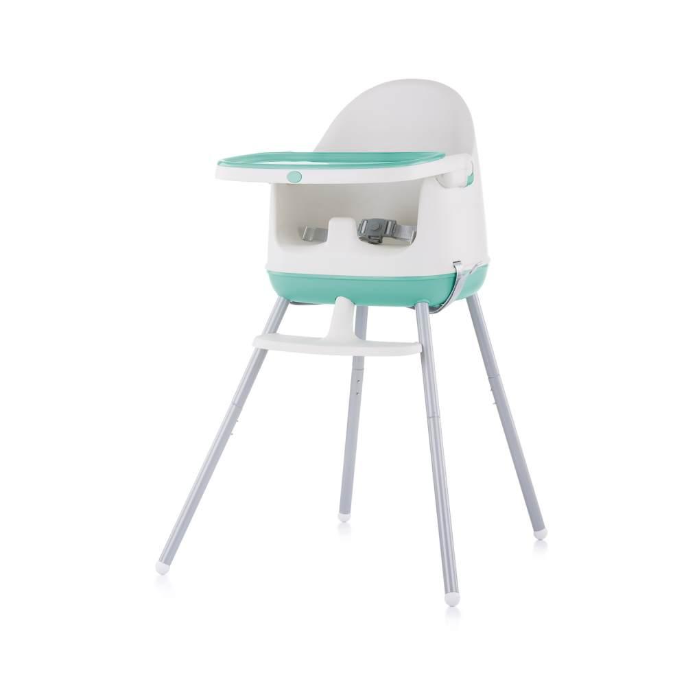 Chipolino Hochstuhl 3 in 1 Pudding Sitzerhöhung, Tablett, Fußstütze, Kinderstuhl türkis Bild 1