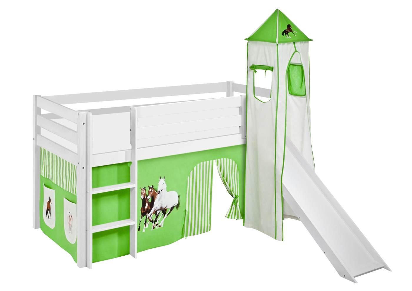 Lilokids 'Jelle' Spielbett 90 x 190 cm, Pferde Grün Beige, Kiefer massiv, mit Turm, Rutsche und Vorhang Bild 1