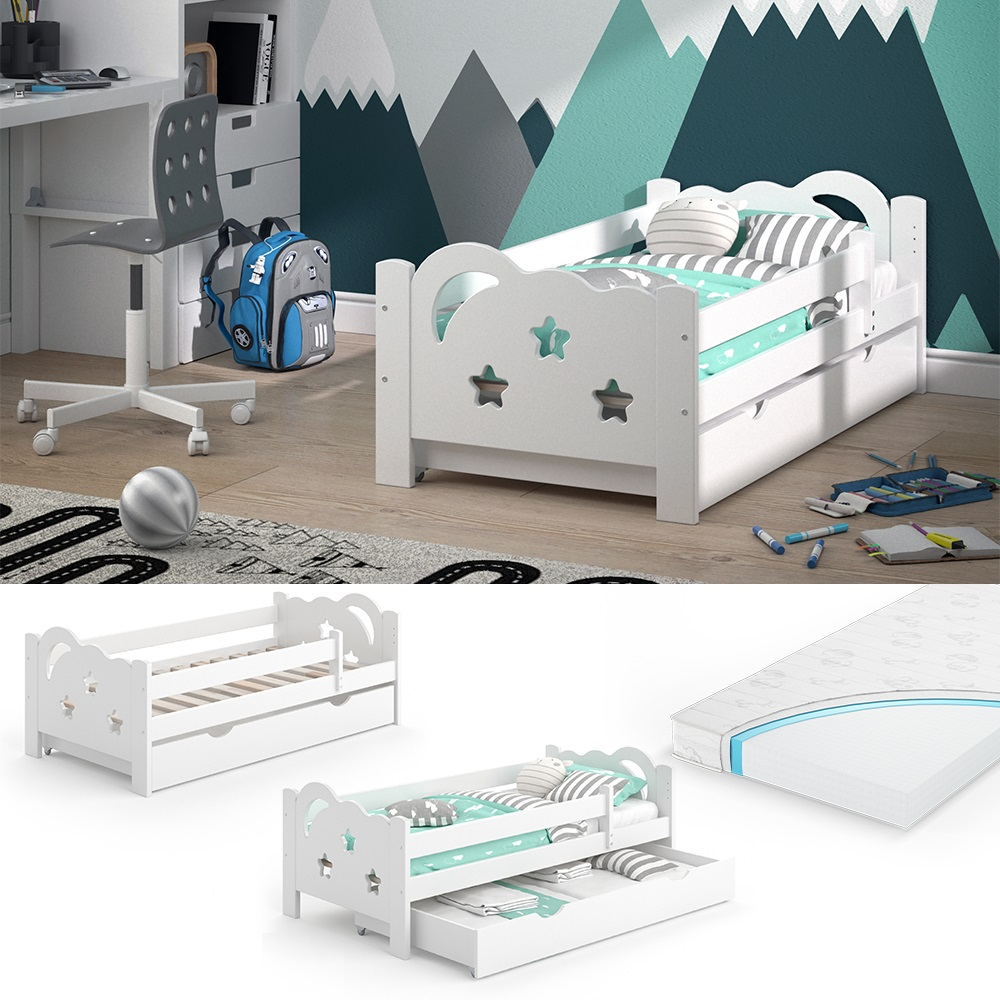 VitaliSpa 'Sari' Kinderbett 70 x 140 cm weiß, inkl. Schublade, Rausfallschutz, Matratze Bild 1