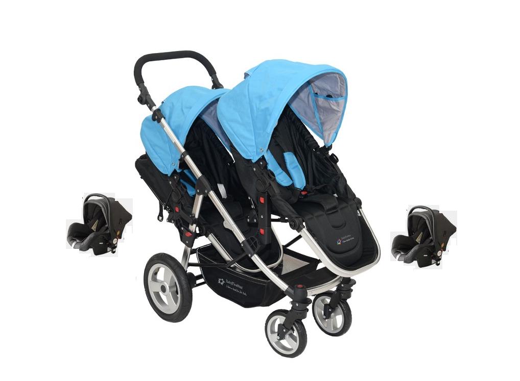 Babyfivestar Geschwisterwagen Blau inkl. zwei Babyschalen Bild 1