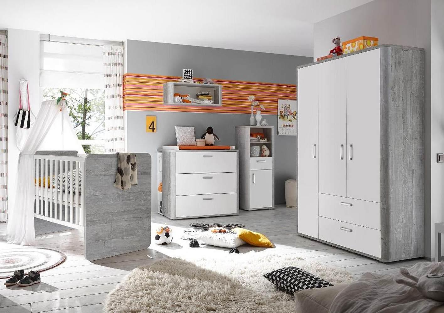 Storado 'Frieda Set 3' 5-tlg. Babyzimmer-Set vintage wood grey/weiß matt lack Bild 1