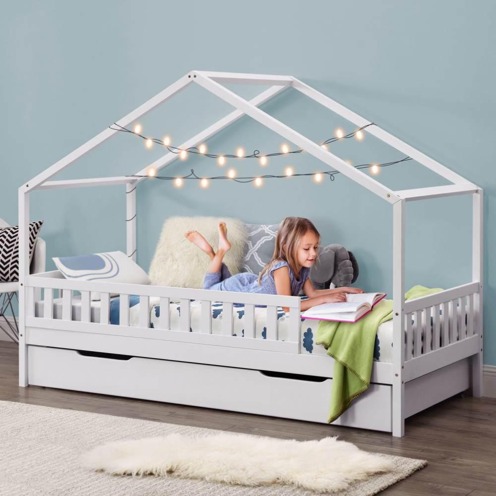 Juskys 'Yuki' Hausbett 90x200 cm, weiß, mit Rausfallschutz, Bettkasten & Lattenrost, Kiefer massiv Bild 1