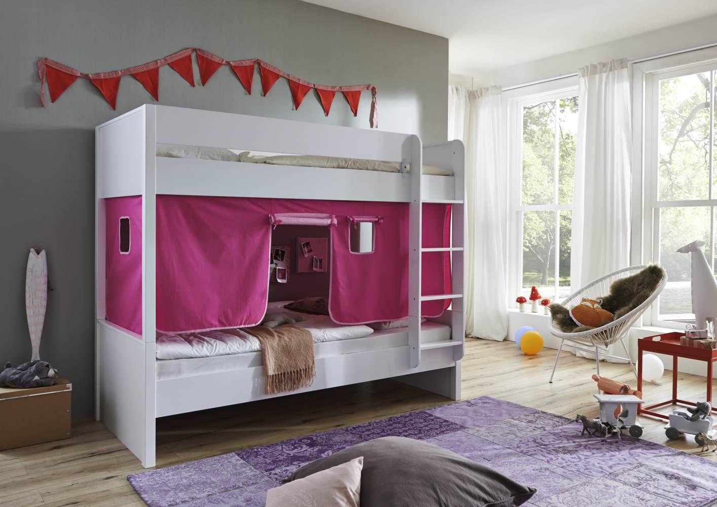 Relita 'Luka' Etagenbett 90x200 cm weiß lackiert mit Vorhang pink/rosa Bild 1