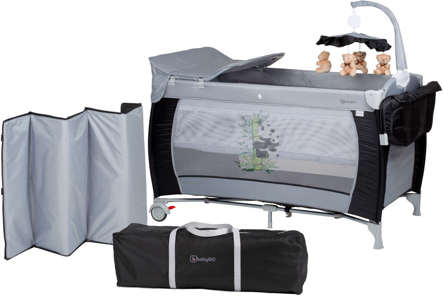 BabyGO 'Sleeper deluxe' Reisebett 60x120 cm, schwarz, mit Matratze, Wickelauflage, Mobile und Schlupf Bild 1