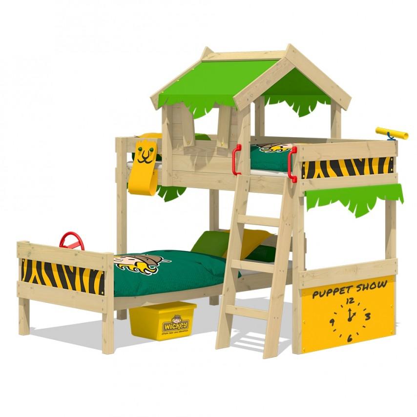 Wickey 'Crazy Jungle' Etagenbett apfelgrün/gelb, 90x200 cm Bild 1