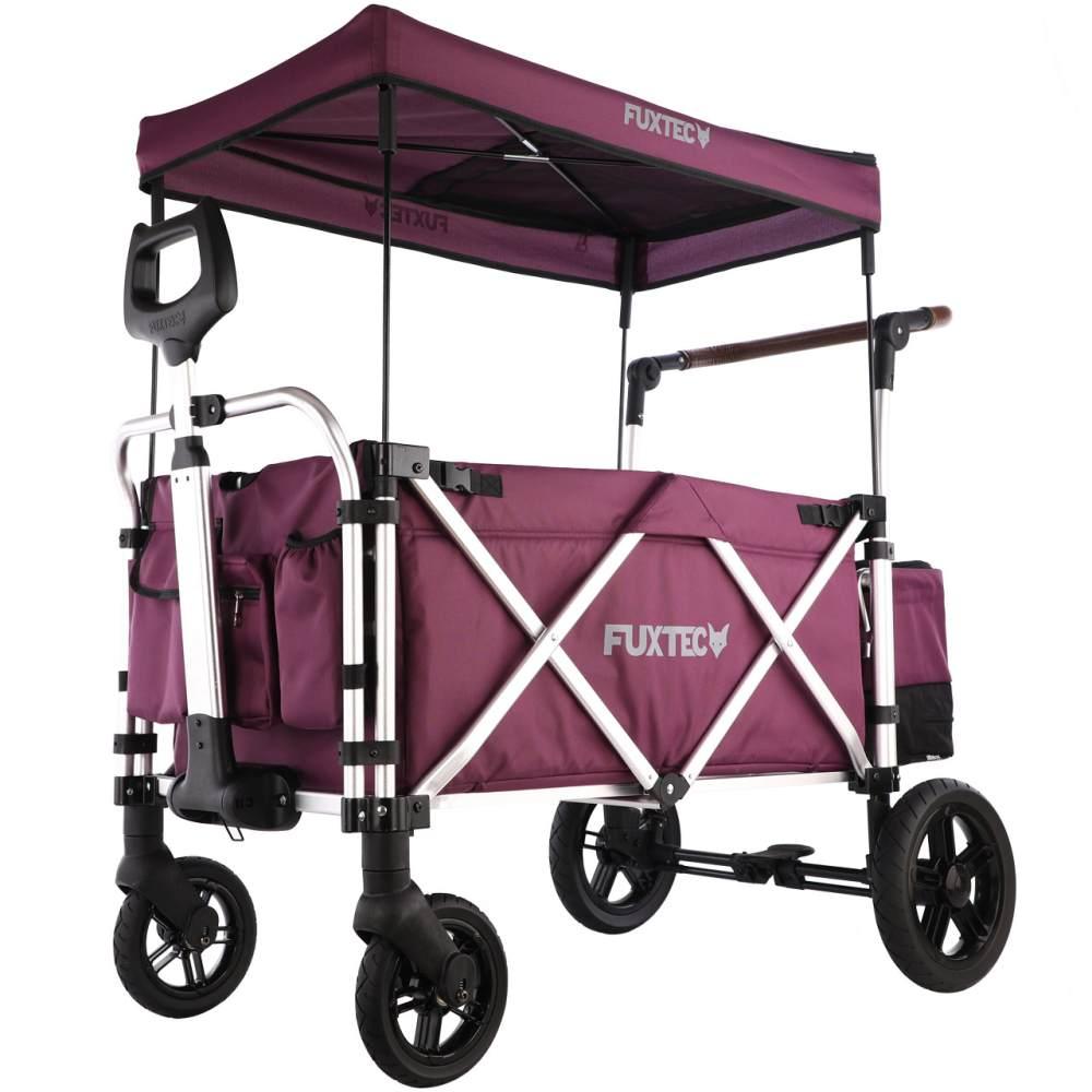 FUXTEC 'CTL-900' Luxus Bollerwagen in Purpur, inkl. Sonnendach, Hecktasche, Zugstange und Schiebegriff, gepolsteter Boden und Rückenlehne, 5-Punkt-Sicherheitsgurt und belüftetes Schuhfach Bild 1