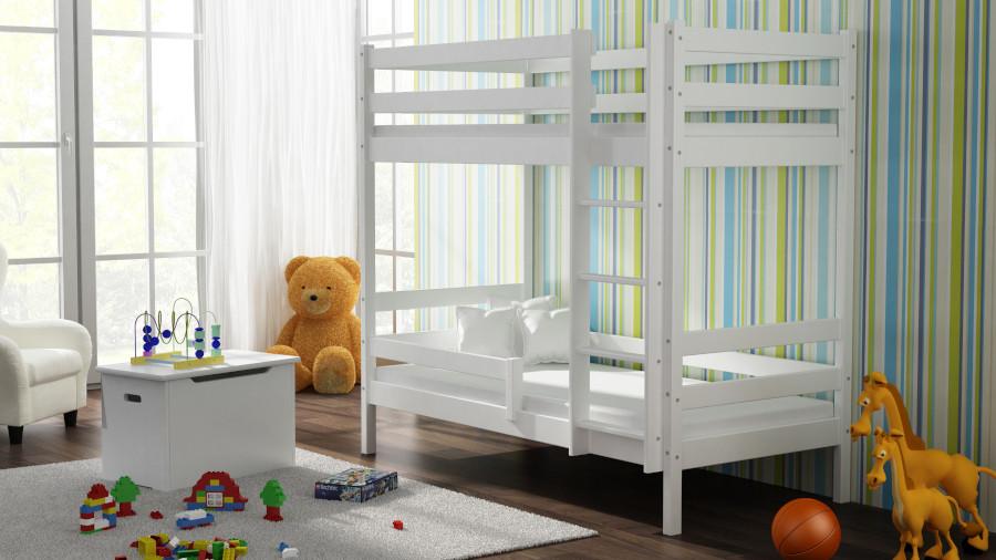 Kinderbettenwelt 'Peter' Etagenbett 80x190 cm, vanille, Kiefer massiv, inkl. Lattenroste Bild 1