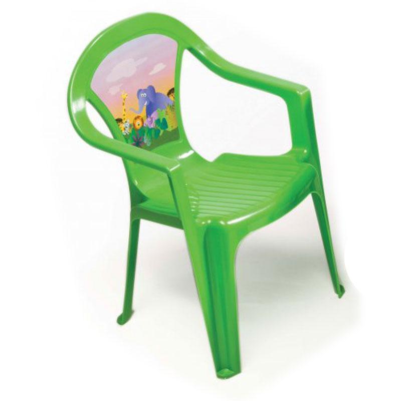 Kinderstuhl grün mit Aufdruck Bild 1