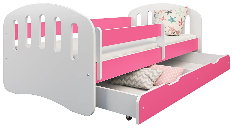 Clamaro 'Joy' Kinderbett 80x180 cm, weiß/rosa, inkl. Matratze, Lattenrost und Bettkasten Bild 1