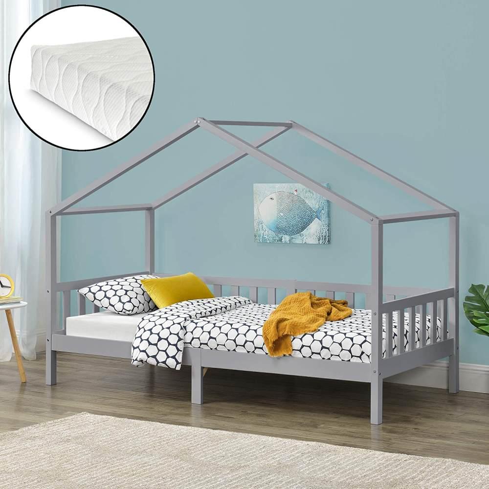 en. casa Kinderbett 'Kongsvinger' 90x200cm mit Kaltschaummatratze und Lattenrost, Holz Hellgrau Bild 1