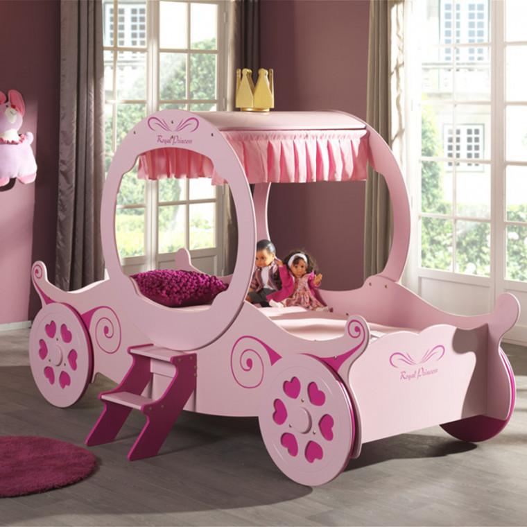Vipack Kutschenbett rosa, 90x200cm Bild 1
