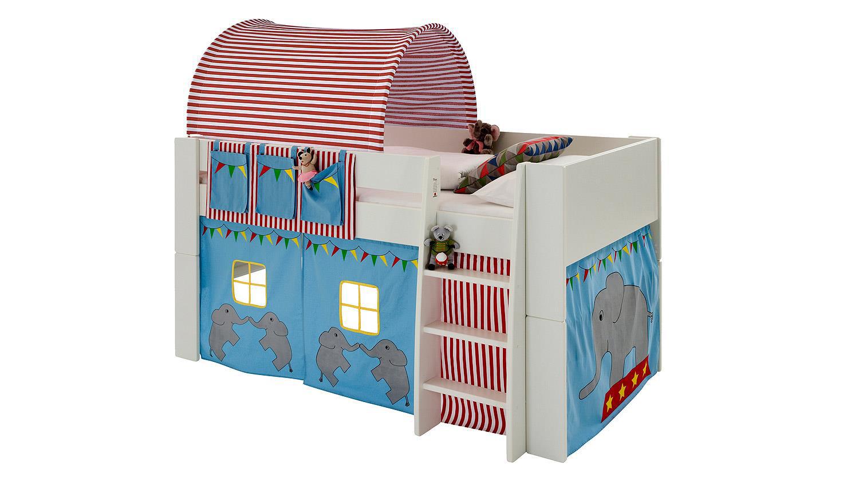 Hochbett STEENS FOR KIDS Weiß MDF Vorhänge Zirkus 90x200 cm Bild 1