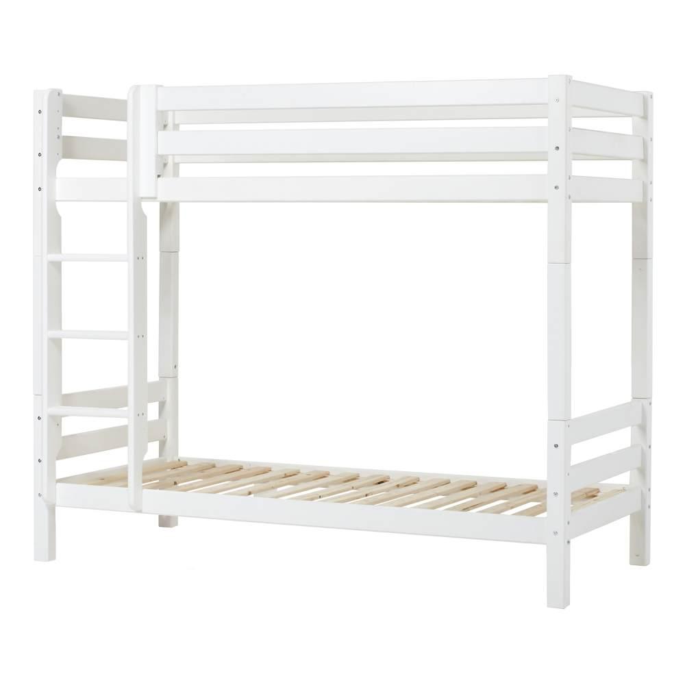 Hoppekids Hohes Etagenbett Hoppekids PREMIUM mit gerader Leiter und Liegefläche 90 x 200 cm - weiß Bild 1