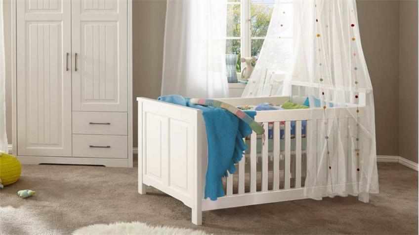 Babybett KALAS Kinderbett Bett Babyzimmer Kiefer massiv weiß 70x140 Bild 1