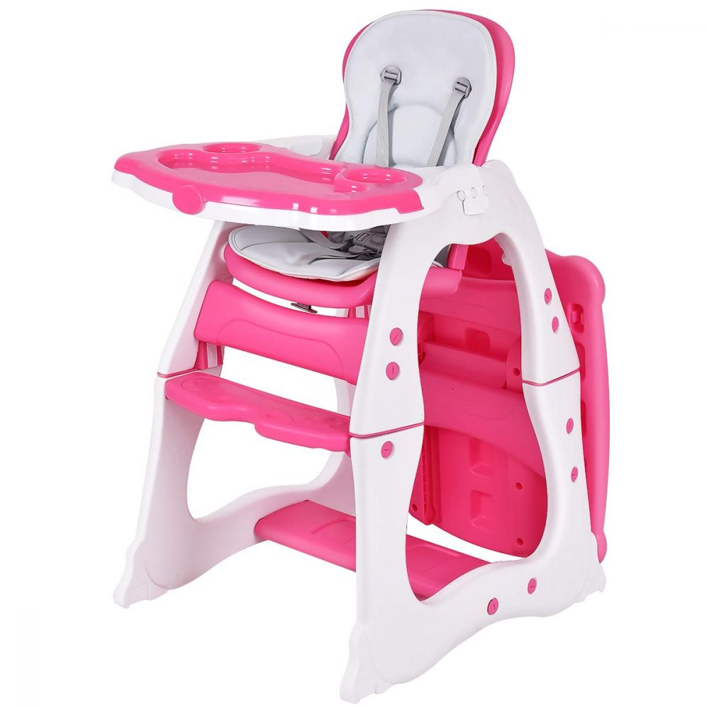 COSTWAY 3 in 1 Babyhochstuhl, Hoch- Babystuhl & Sitzgruppe mit in 3 Positionen anpassbarem Essenstablett, 3 fach verstellbare Rückenlehne, 5-Punkt Gurt, rosa Bild 1