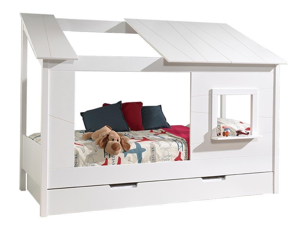 Vipack Baumhaus Bett 90 x 200 cm Liegefläche und Bettschublade offenes Dach Weiß lackiert Bild 1