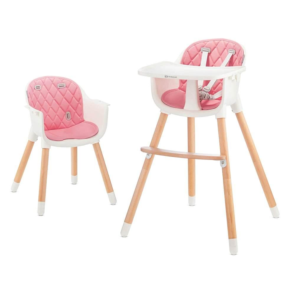 Kinderkraft 'Sienna' Kinderhochstuhl 2 in 1 Pink, Beine aus Holz, 5-Punkt-Gurt, Fußstütze, rutschfeste Stuhlbeinkappen inkl. abnehmbares Essbrett Bild 1