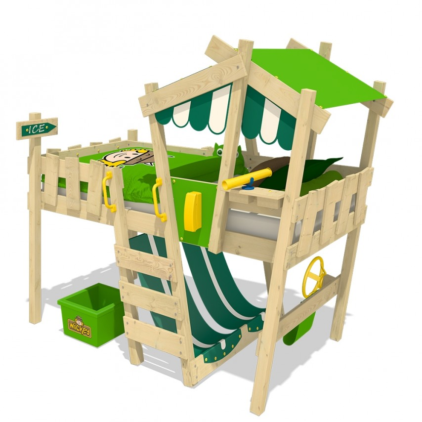 Wickey 'Crazy Hutty' Hochbett grün/apfelgrün 90x200 cm Bild 1