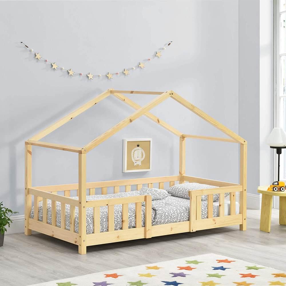 en.casa Hausbett aus Kiefernholz mit Rausfallschutz 80x160cm inkl. Lattenrost, natur Bild 1