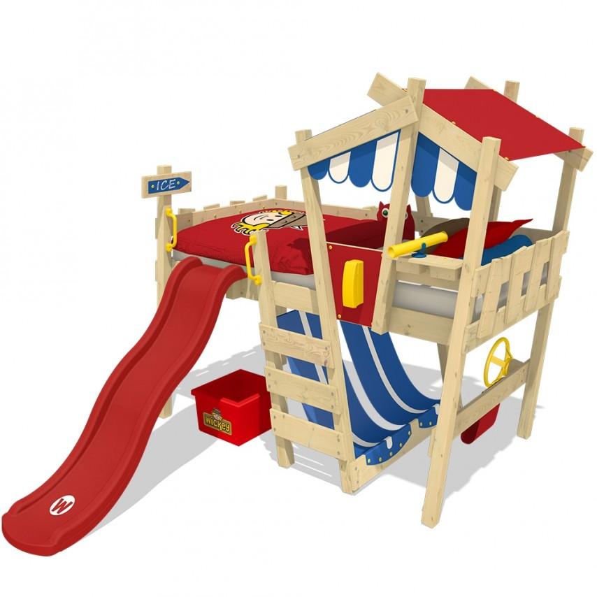 Wickey 'Crazy Hutty' Hochbett mit Rutsche mit roter Rutsche Einzelbett 90x200cm Bild 1