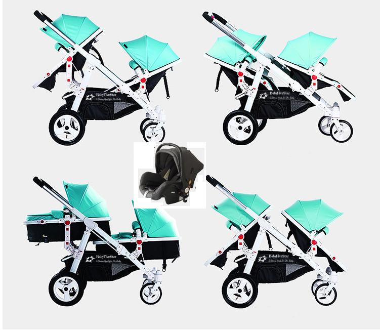 Babyfivestar Geschwisterwagen Türkis inkl. Babyschale Bild 1