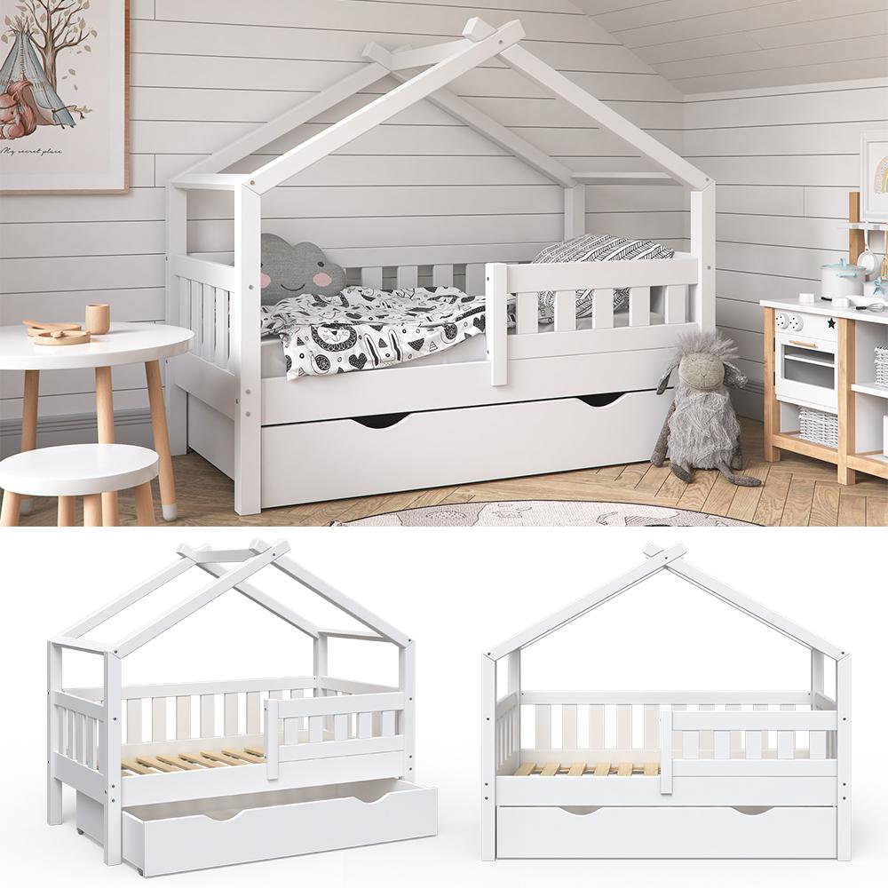 VitaliSpa 'Design' Kinderbett 70 x 140 cm, weiß, Massivholz Kiefer, inkl. Schublade Bild 1