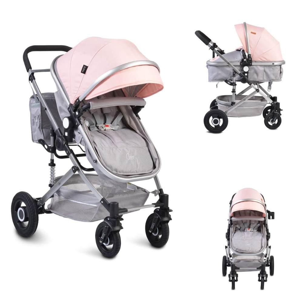 Moni Kinderwagen Ciara Tragetasche Sportsitz Wickeltasche faltbar Sitz umkehrbar rosa Bild 1