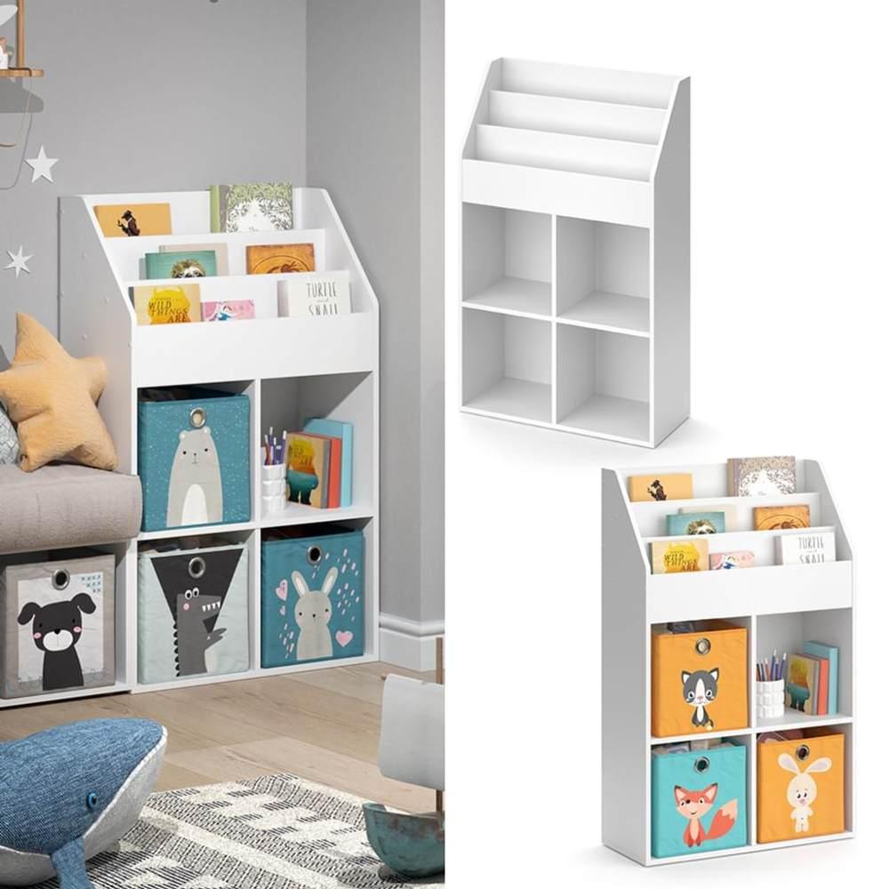 Vicco 'LUIGI' Kinderregal, weiß, mit 3 Fächern für Bücher und 4 Fächern für Faltboxen Bild 1