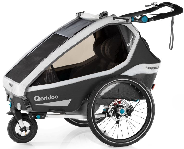 Qeridoo 'Kidgoo2 Pro' Fahrradanhänger 2020 Dunkelgrau, 2-Sitzer, inkl. XXL Kofferraum, Verdeck, 360°Grad-Belüftungssystem Bild 1