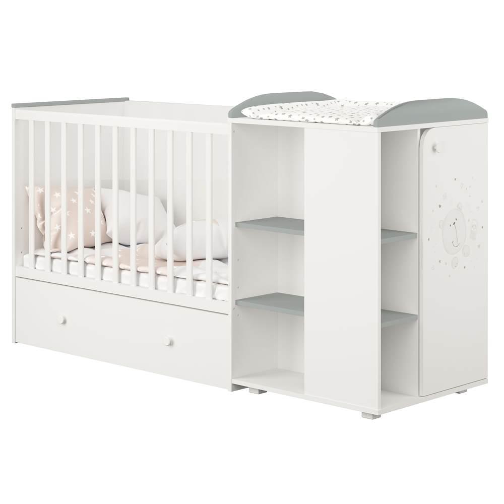 Polini kids 'Fench 950' Kombi-Kinderbett 60x120 cm, Teddy, weiß-grau, mit integrierter Wickelkommode, Umbausatz und Bettschublade, umbaubar zum Jugenbett 90x200 cm Bild 1