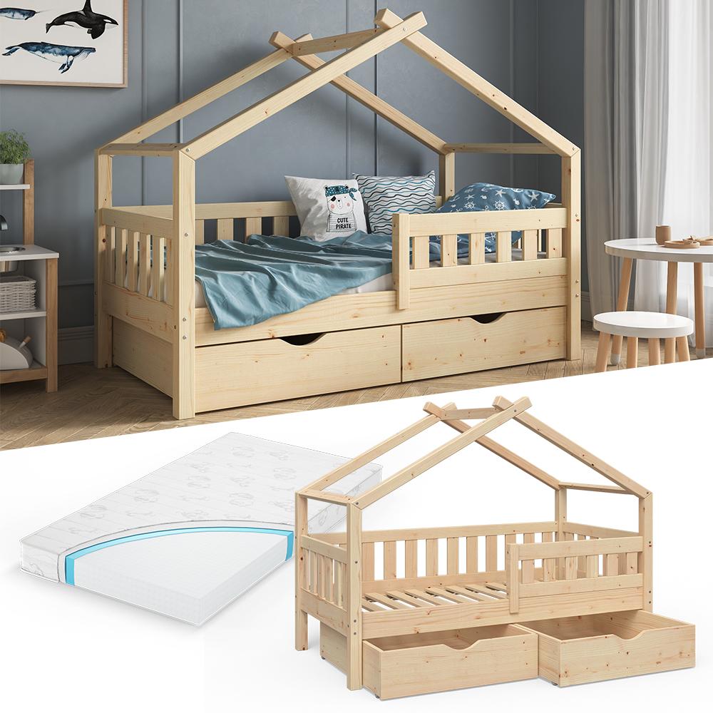 VitaliSpa 'Design' Kinderbett 80 x 160 cm, natur, Massivholz Kiefer, inkl. 2 Schubladen und Matratze Bild 1
