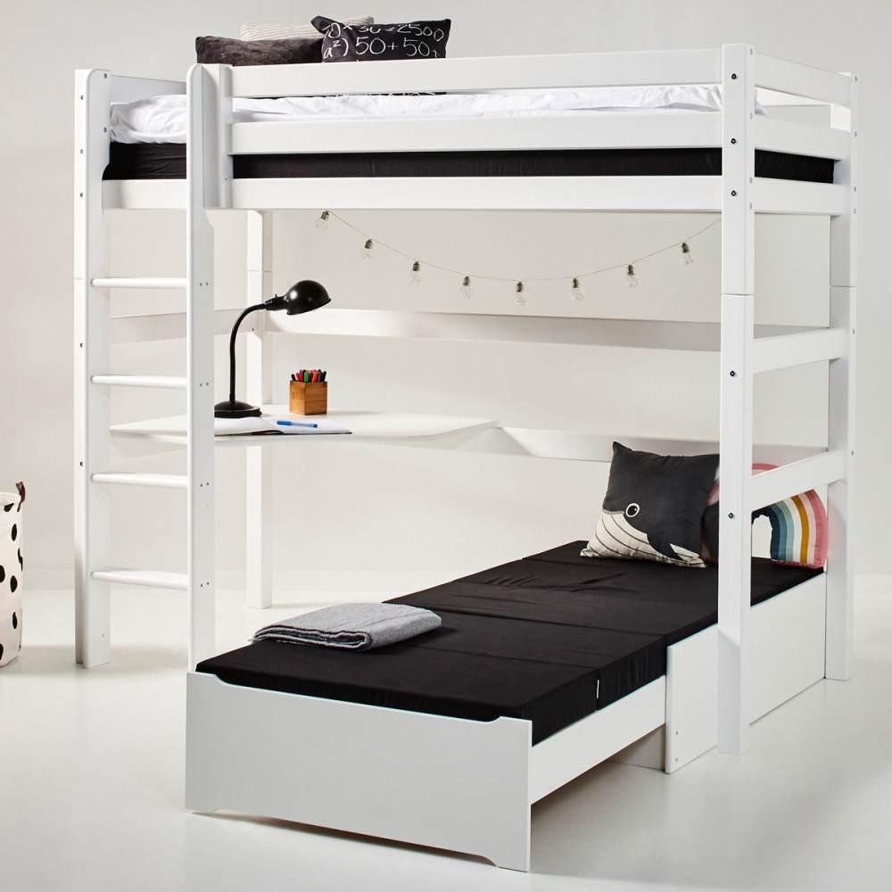 Hoppekids 'Premium' Hochbett weiß, mit schräger Leiter, inkl. extra Einzelbett Bild 1